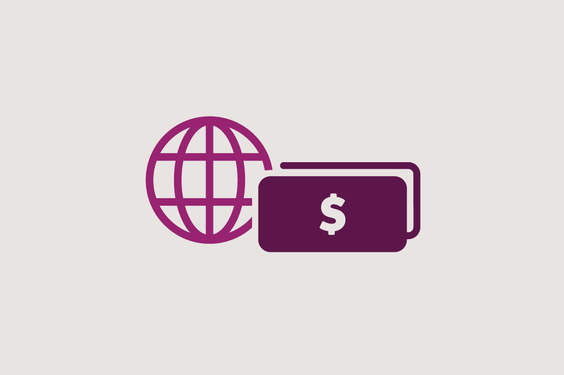 Illustration of a globe and money