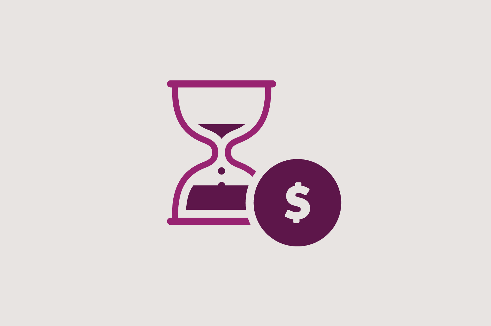 Illustration of an hour glass and a dollar sign