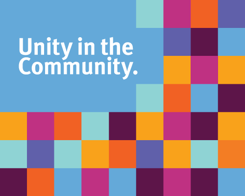 An illustration of a rainbow-collage for Unity in the Community.
