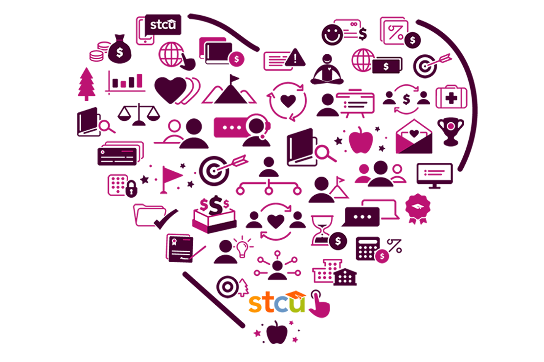 Illustration of community and financial icons in the shape of a heart