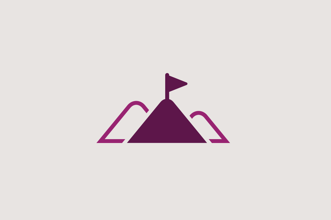 Illustration of mountains and a flag