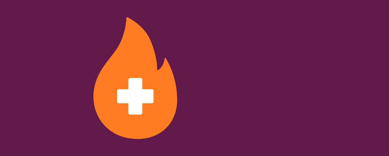 An illustration of a flame with plus sign in it