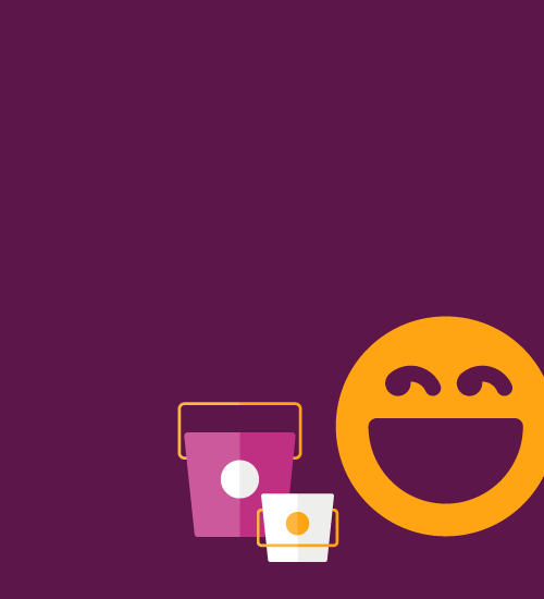 Illustration of a smiley face and a takeout container