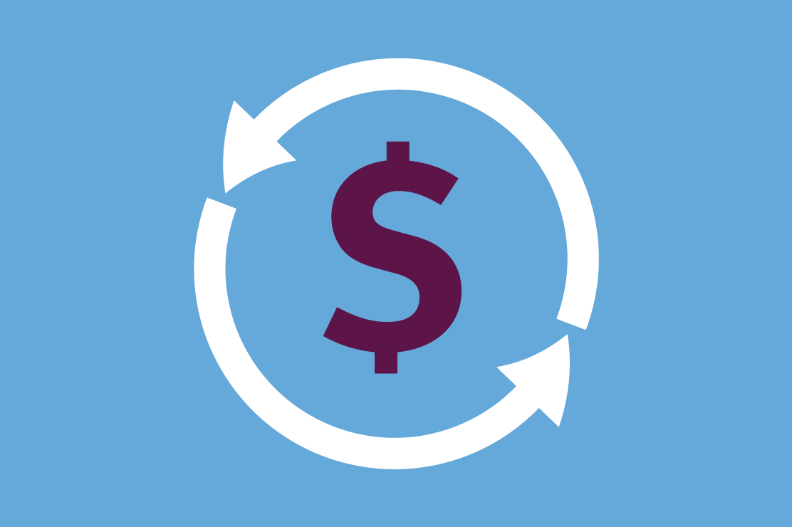 An illustration of a dollar sign circled by arrows
