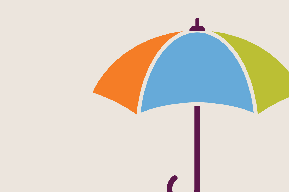 An illustration of a rainbow-colored umbrella, a good thing to have handy in case of an emergency.