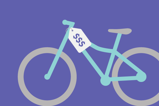 An illustration of a bicycle with a pricetag.