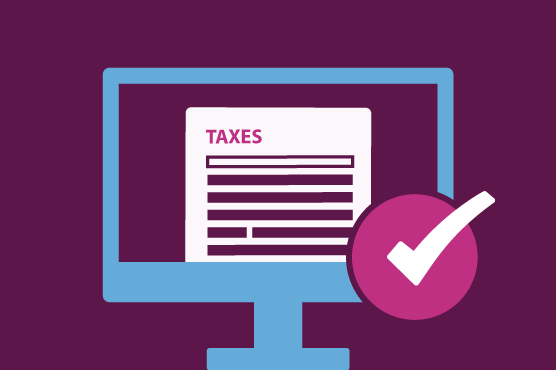 Illustration of a tax return being done on a computer.