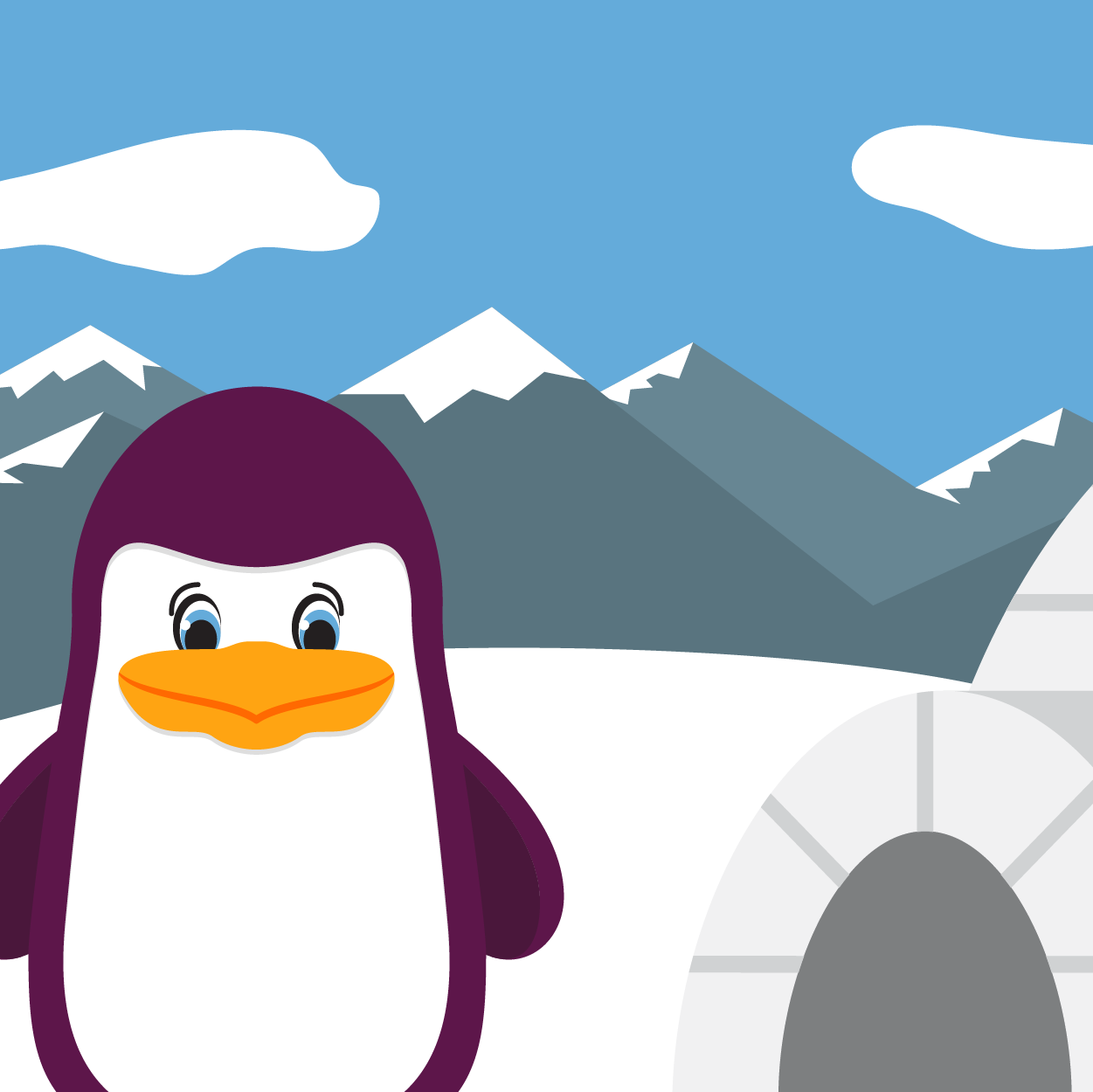 Illustration of a Ping the Penguin and an igloo