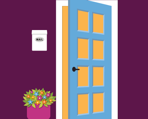 Illustration of a front door