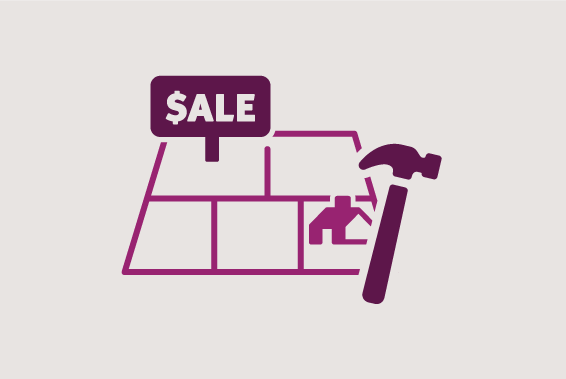 Illustration of plot of land with a sale sign and a toolbox and hammer
